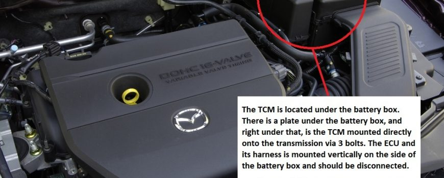 Location of Mazda 3 TCM (Transmission Control Module)